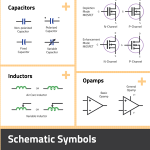 circuit schematic symbols preview containing capacitors, inductors and opamps
